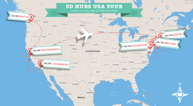 3D Hubs USA unlock tour