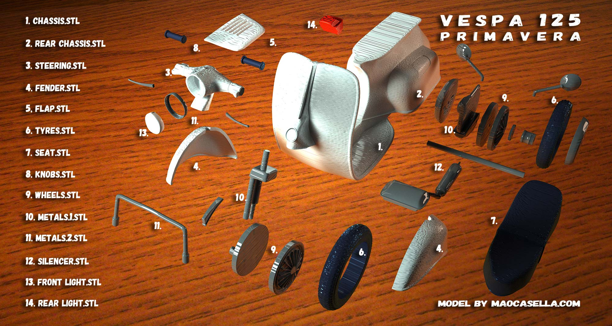 Mao Casella Vespa 3D Print7
